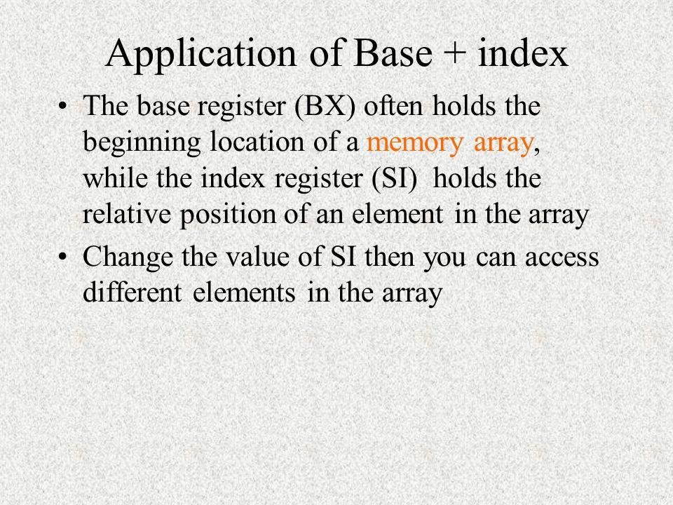 Application of Base + index