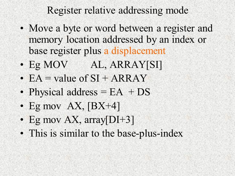 Register relative addressing mode