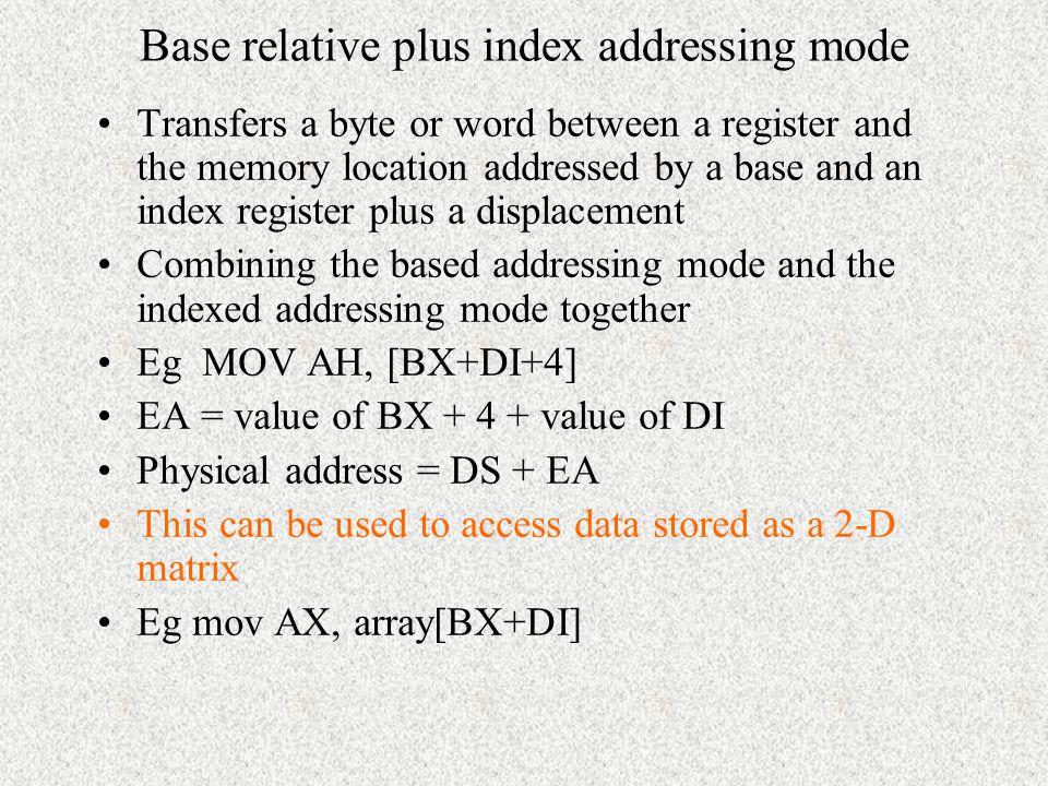 Base relative plus index addressing mode