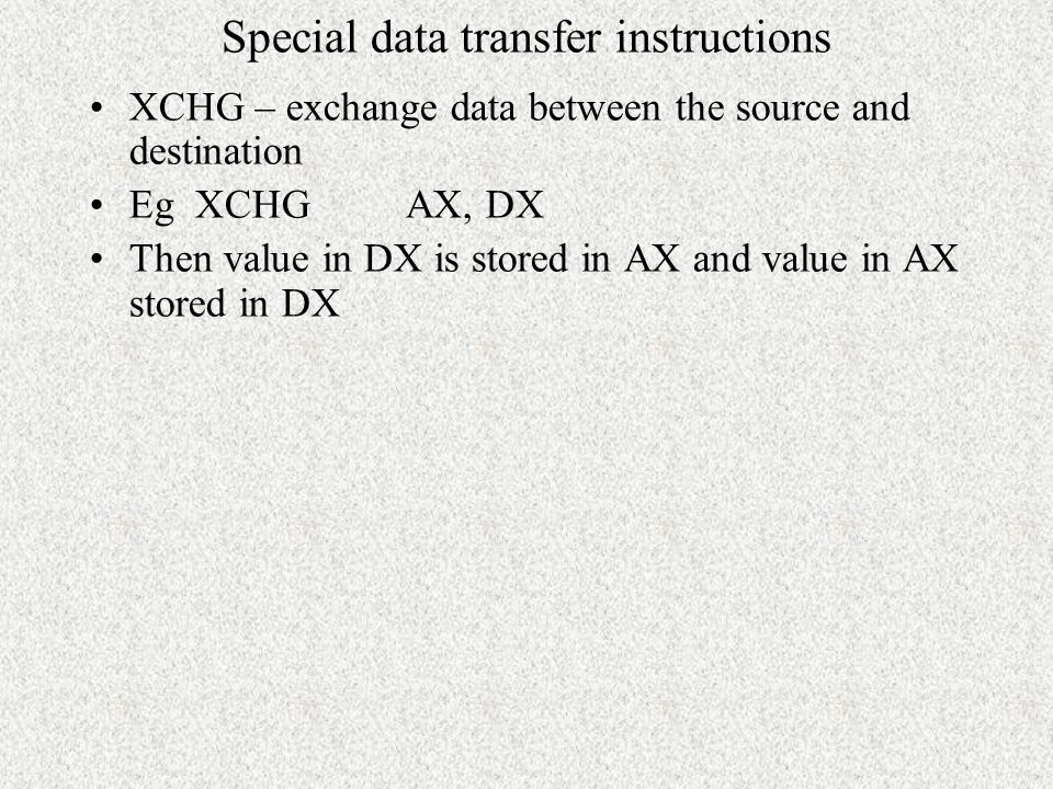 Special data transfer instructions