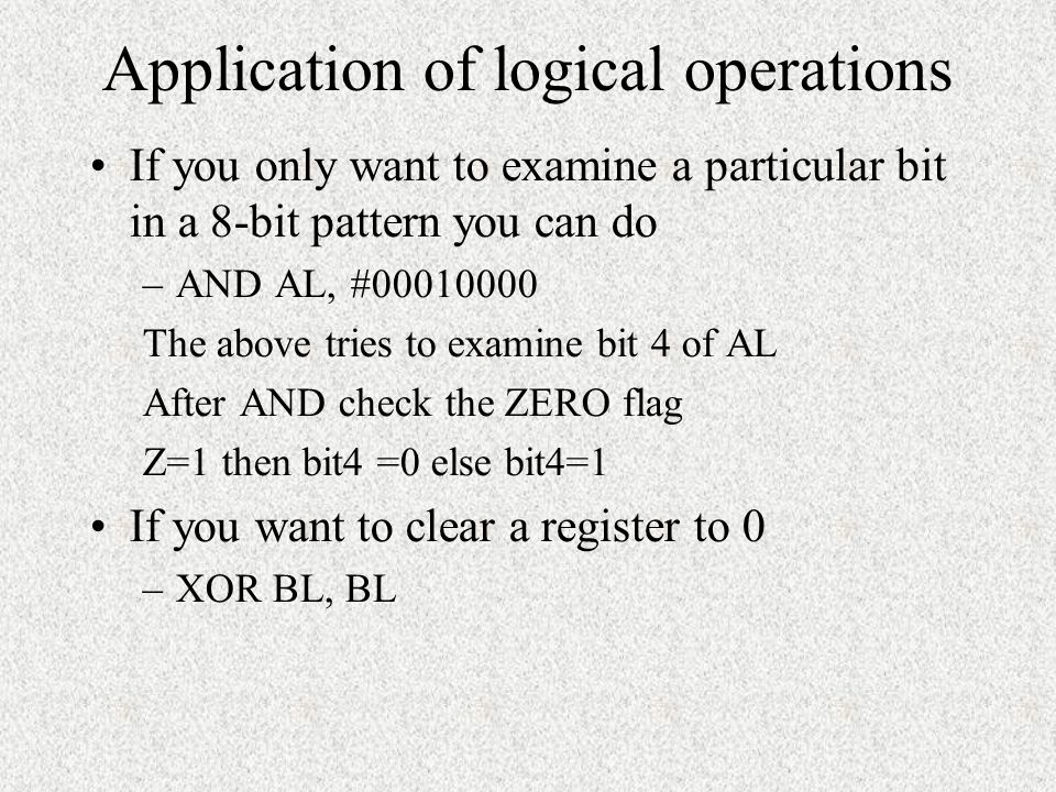 Application of logical operations