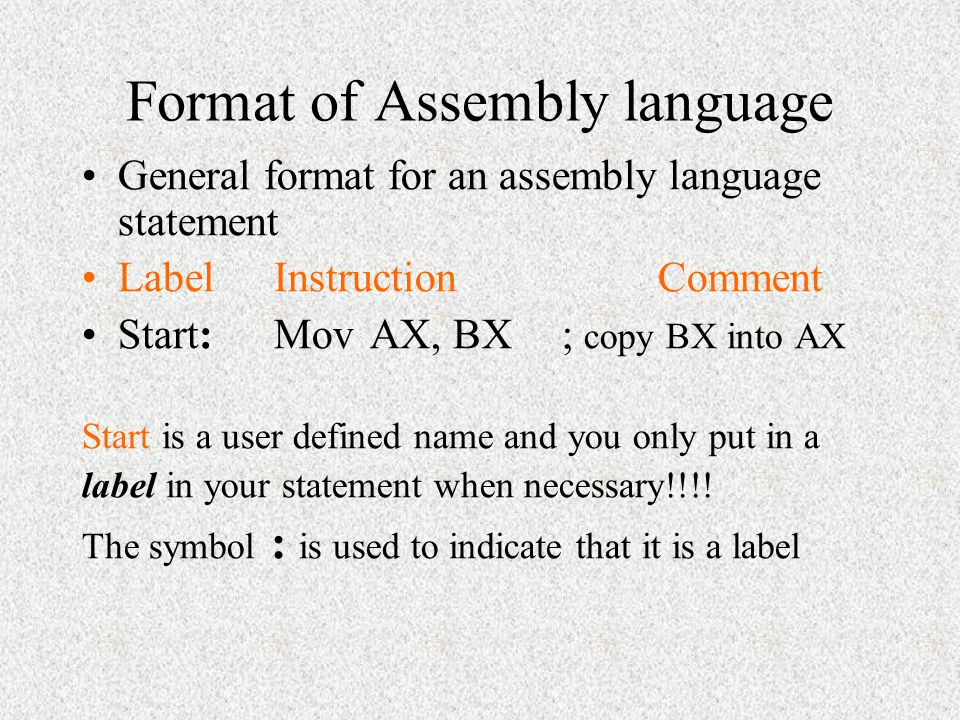 Format of Assembly language