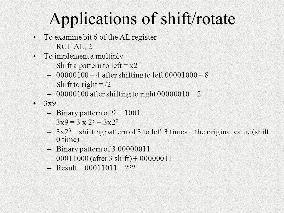 Applications of shift/rotate