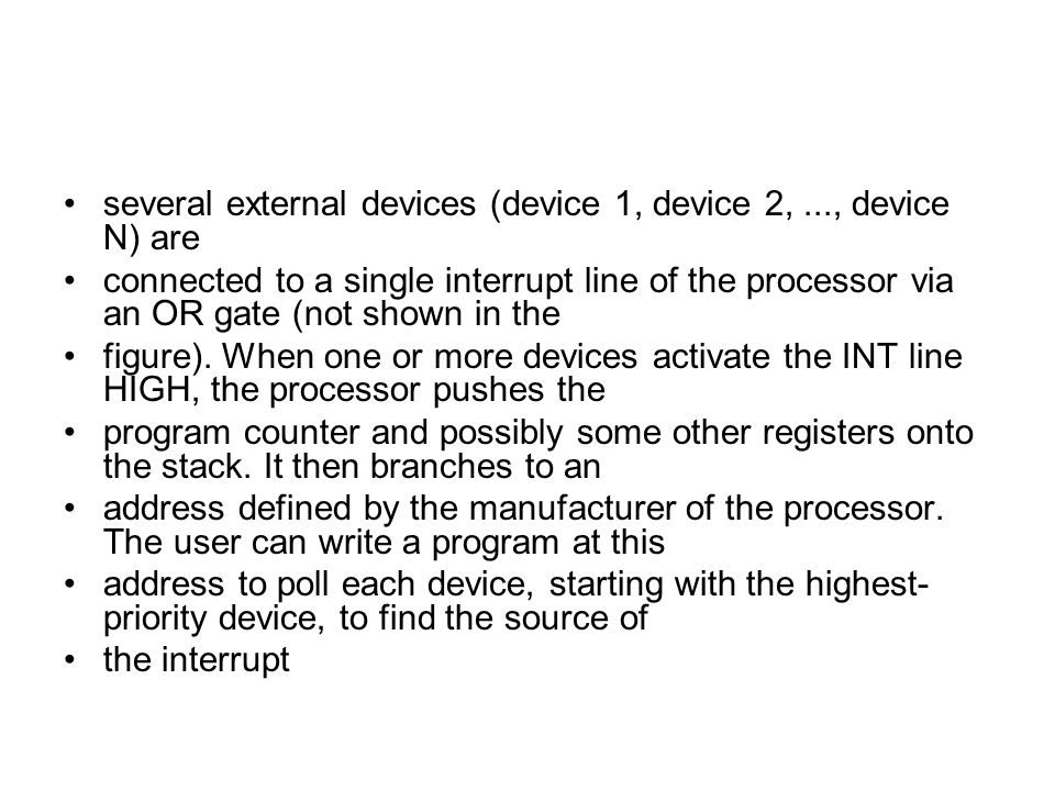 several external devices (device 1, device 2, ..., device N) are