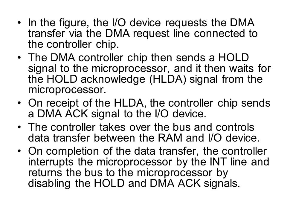 In the figure, the I/O device requests the DMA transfer via the DMA request line connected to the controller chip.