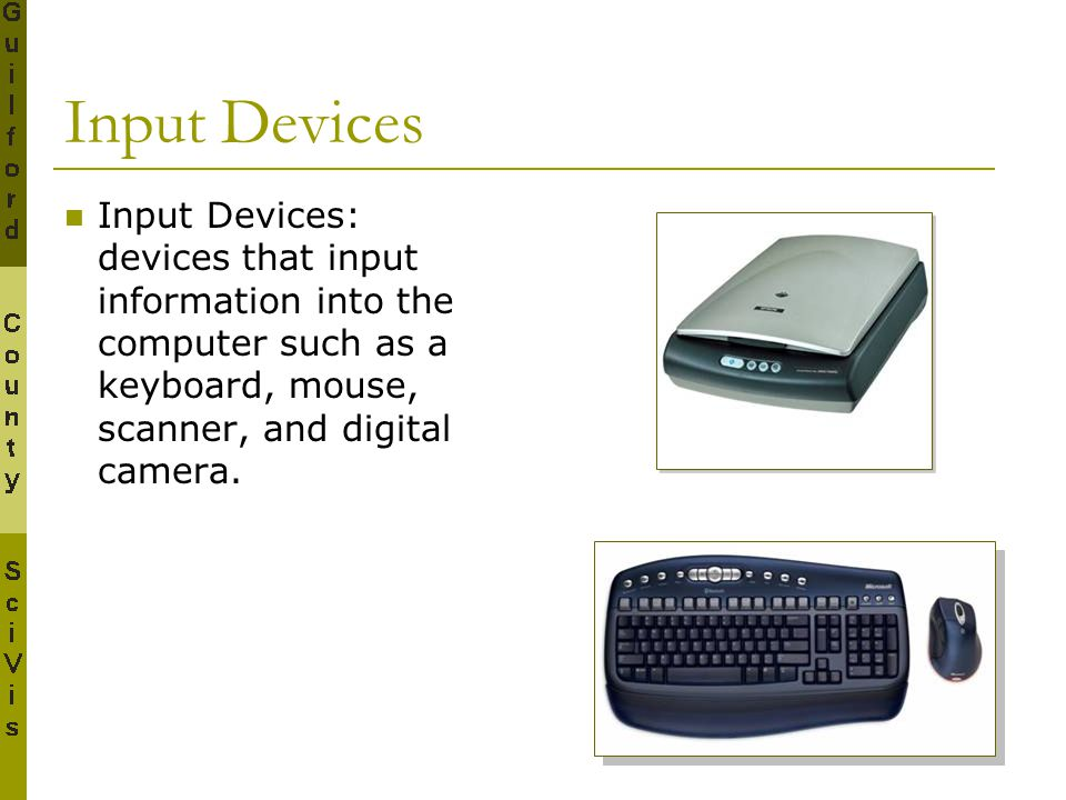 Input Devices Input Devices: devices that input information into the computer such as a keyboard, mouse, scanner, and digital camera.