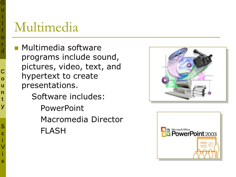 Multimedia Multimedia software programs include sound, pictures, video, text, and hypertext to create presentations.