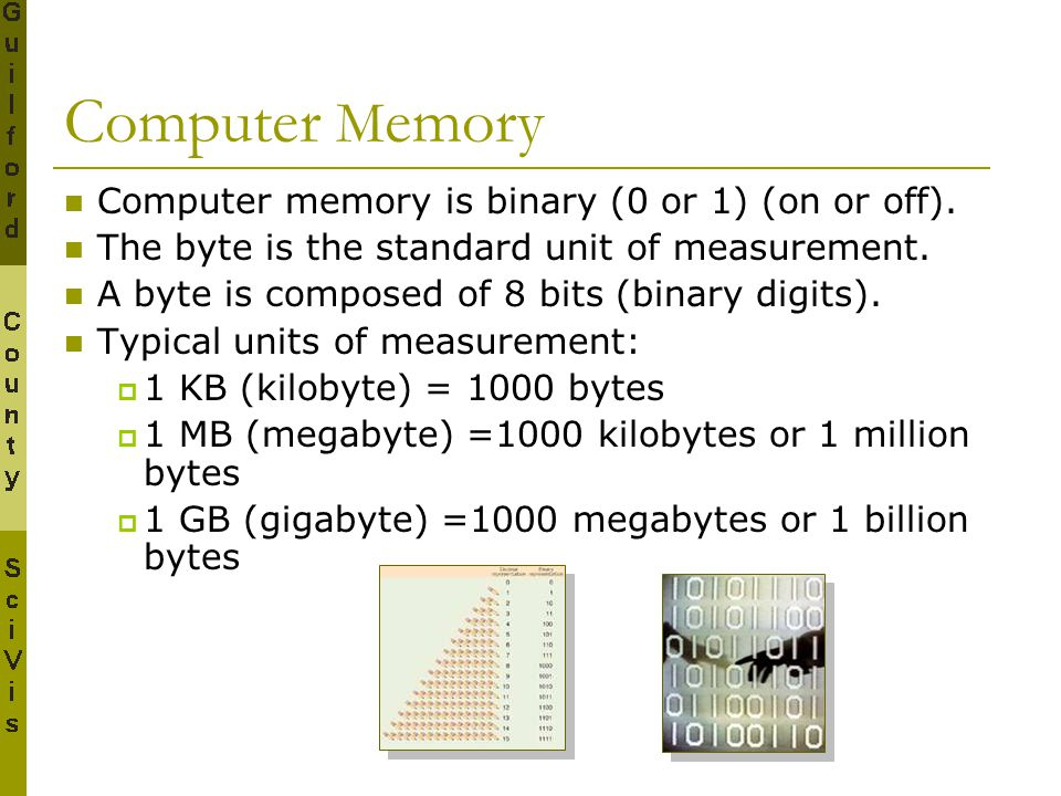 Computer Memory Computer memory is binary (0 or 1) (on or off).