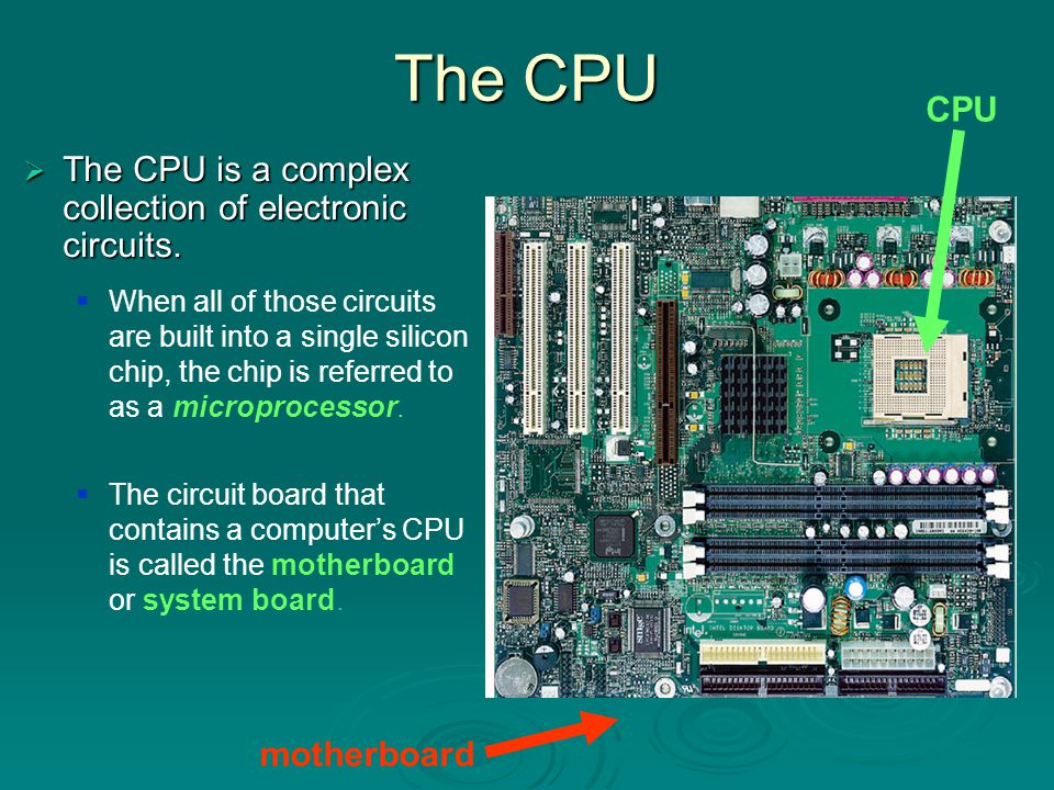 The CPU CPU The CPU is a complex collection of electronic circuits.