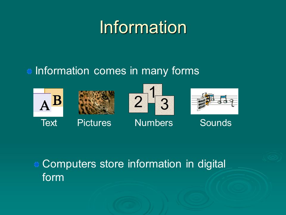 Information 1 2 3 Information comes in many forms