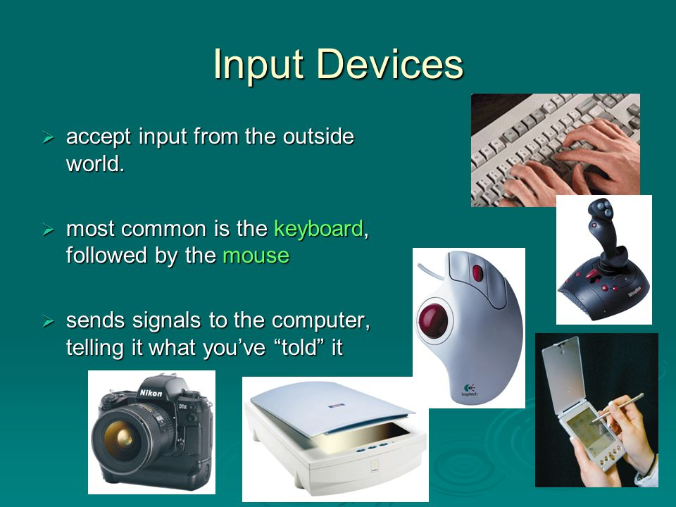 Input Devices accept input from the outside world.