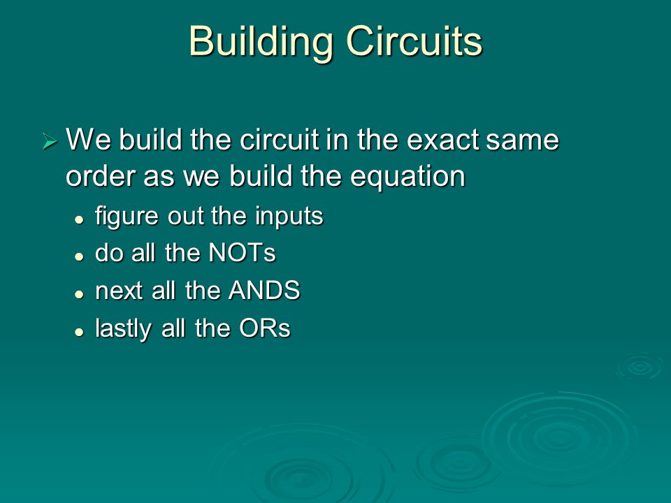 Building Circuits We build the circuit in the exact same order as we build the equation. figure out the inputs.