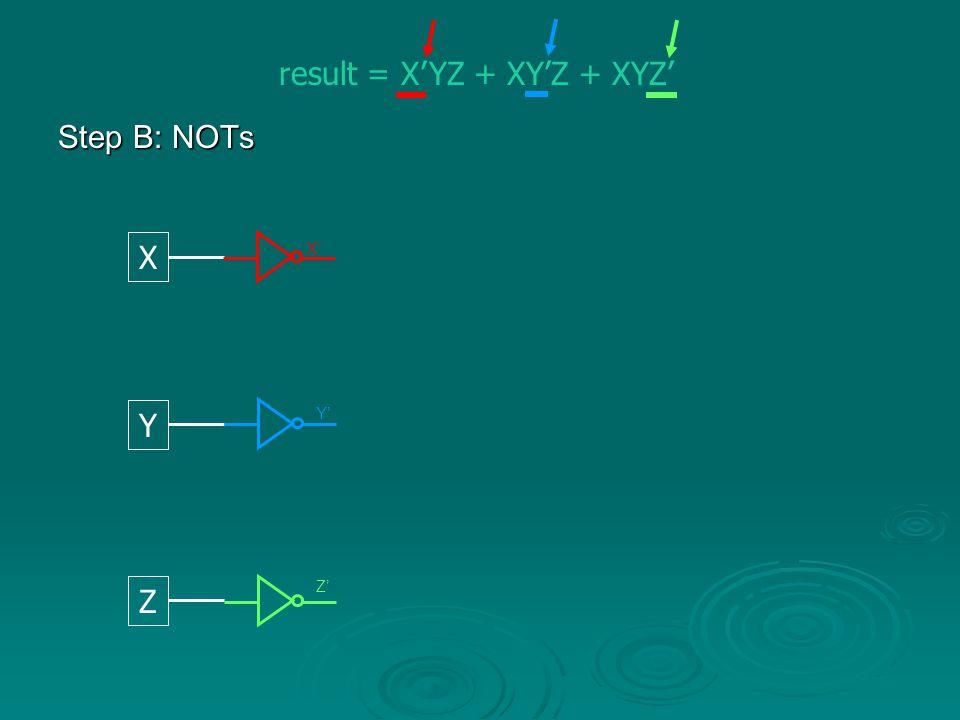 result = X'YZ + XY'Z + XYZ'