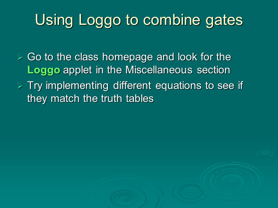 Using Loggo to combine gates
