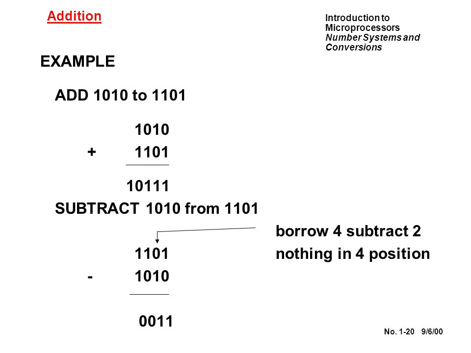 EXAMPLE ADD 1010 to 1101 1010 + 1101 10111 SUBTRACT 1010 from 1101