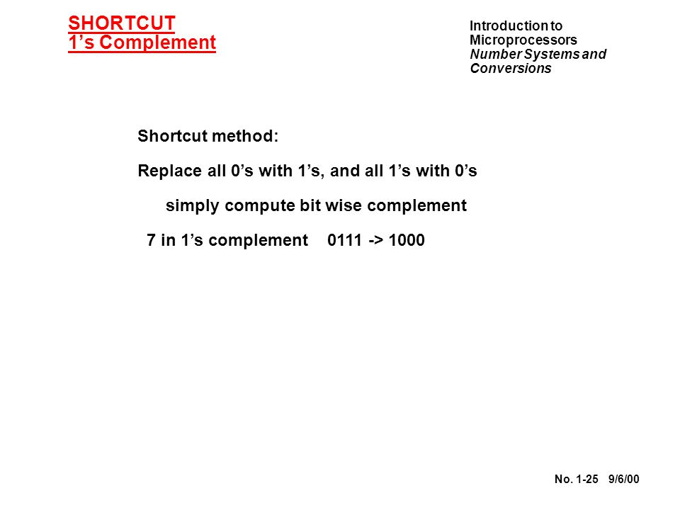SHORTCUT 1's Complement