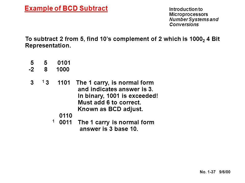 Example of BCD Subtract