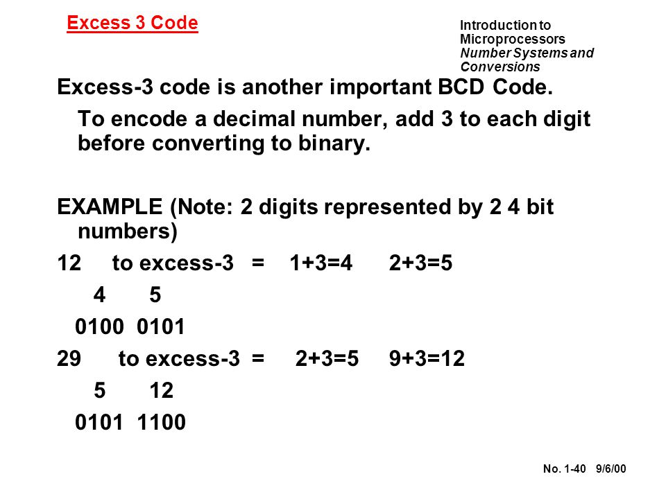 Excess-3 code is another important BCD Code.