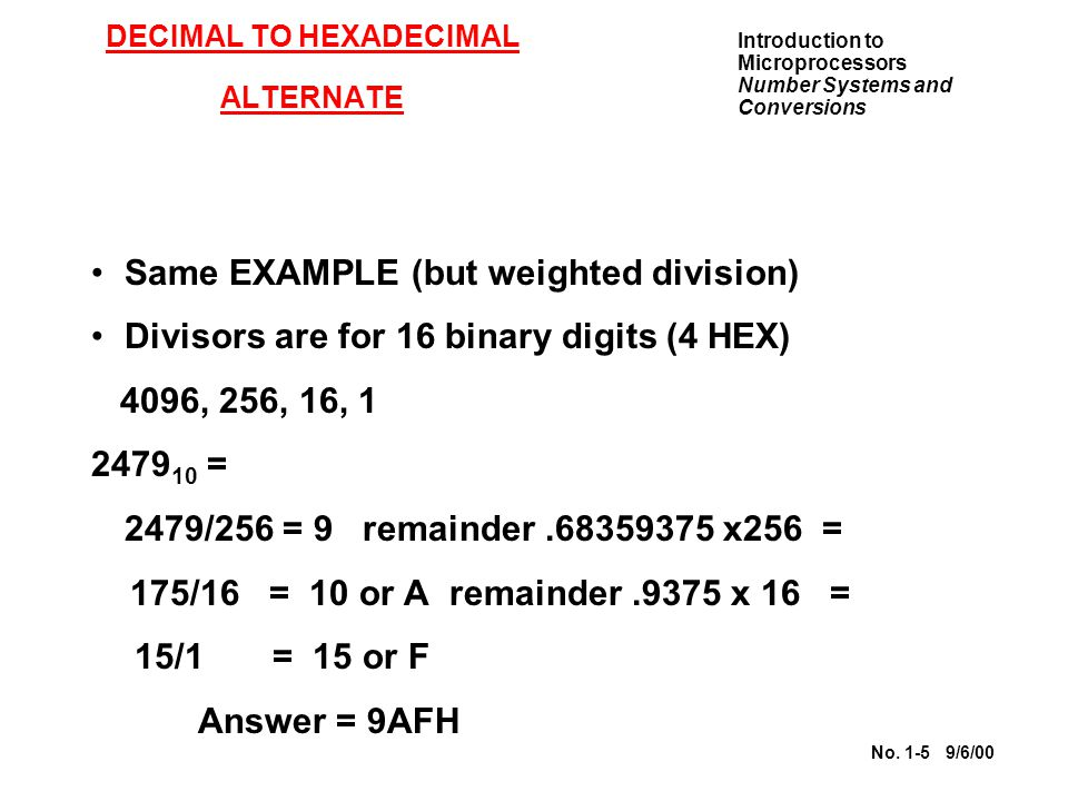 DECIMAL TO HEXADECIMAL ALTERNATE