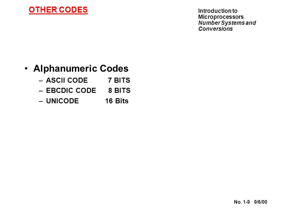 Alphanumeric Codes OTHER CODES ASCII CODE 7 BITS EBCDIC CODE 8 BITS