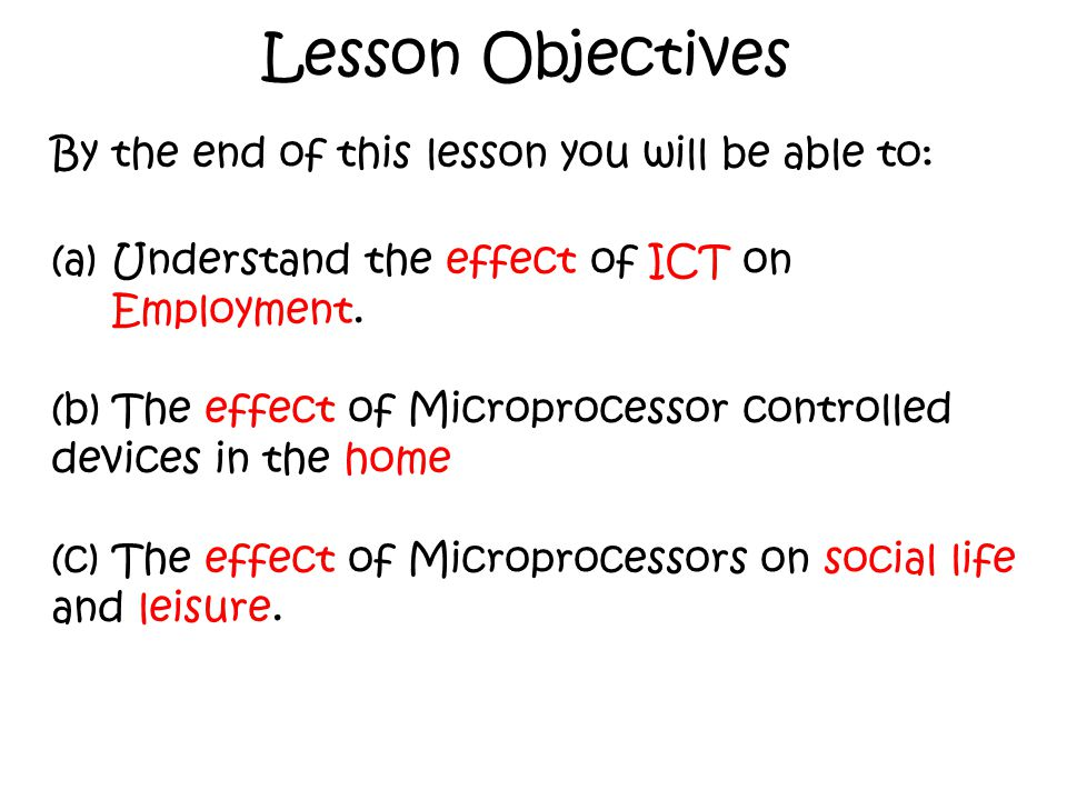 Lesson Objectives By the end of this lesson you will be able to: