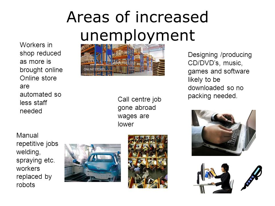 Areas of increased unemployment