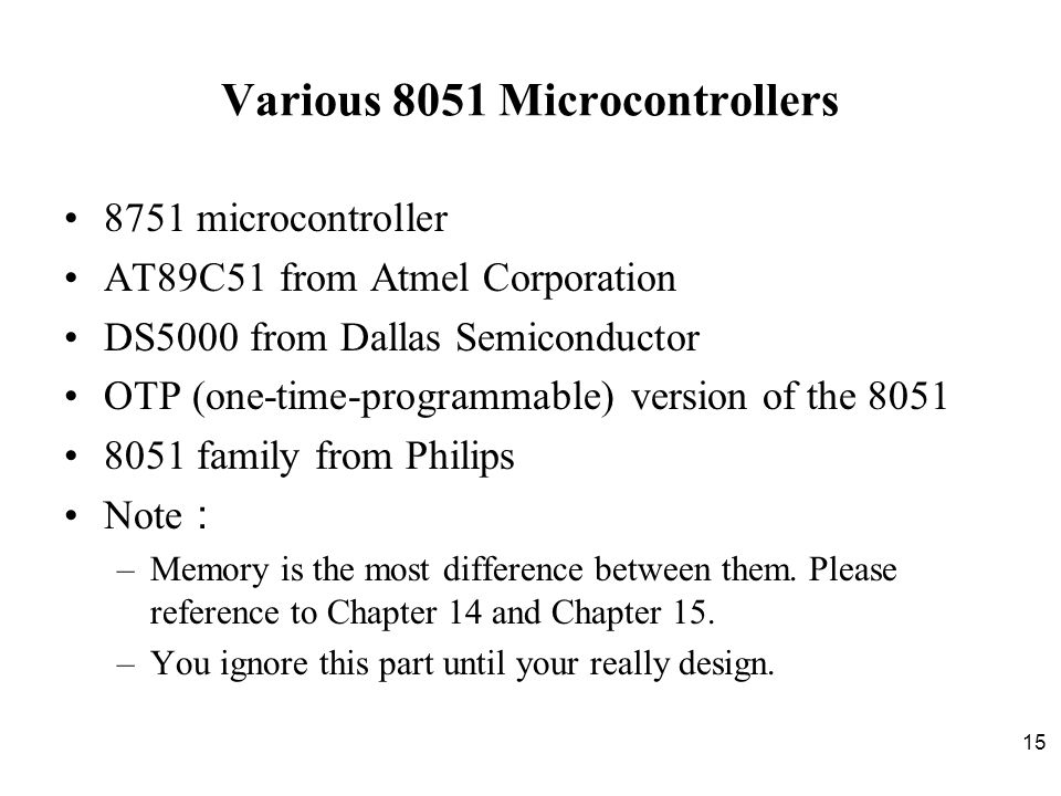 Various 8051 Microcontrollers