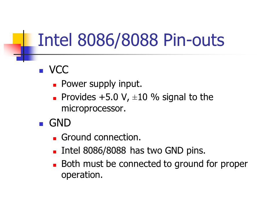 Intel 8086/8088 Pin-outs VCC GND Power supply input.