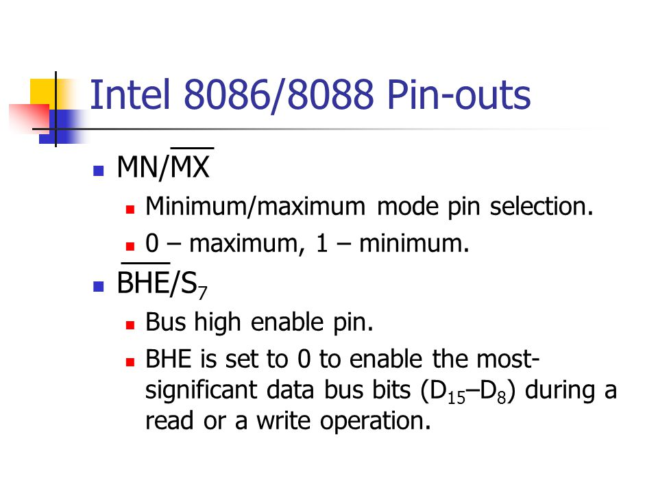 Intel 8086/8088 Pin-outs MN/MX BHE/S7