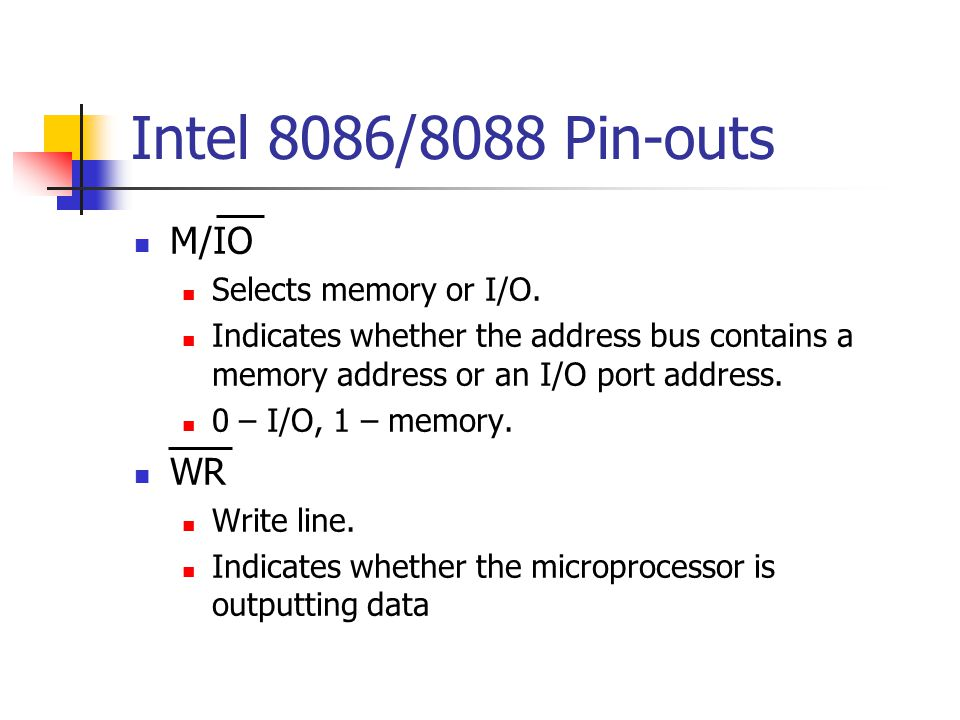 Intel 8086/8088 Pin-outs M/IO WR Selects memory or I/O.