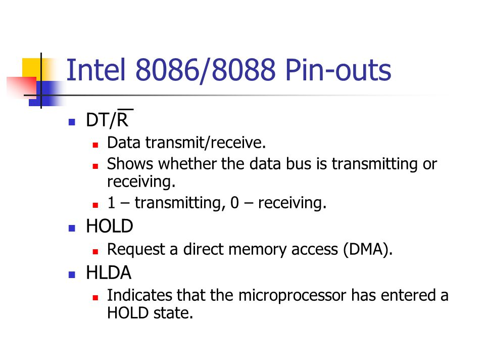 Intel 8086/8088 Pin-outs DT/R HOLD HLDA Data transmit/receive.