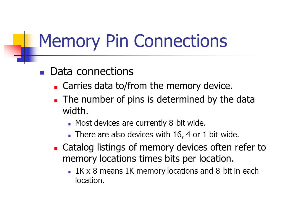 Memory Pin Connections