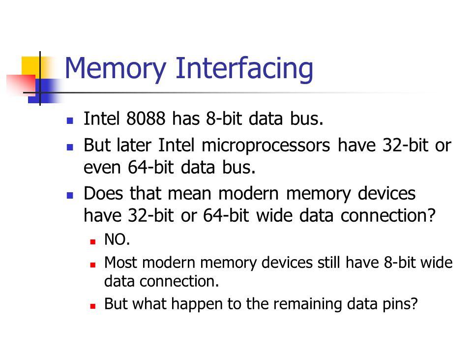 Memory Interfacing Intel 8088 has 8-bit data bus.