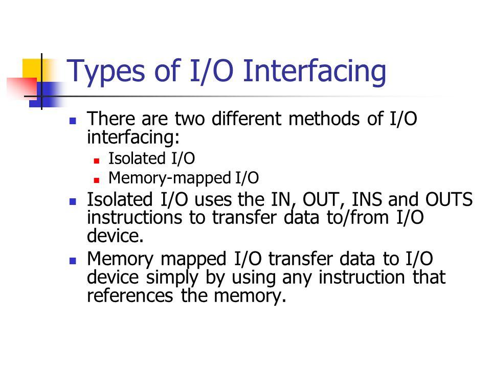 Types of I/O Interfacing