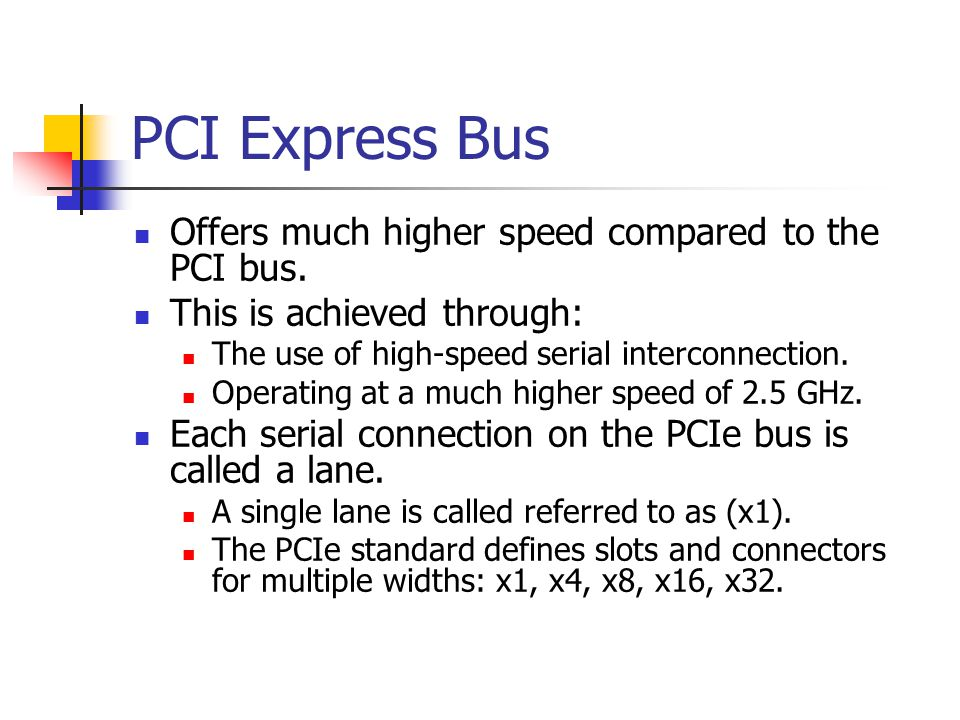 PCI Express Bus Offers much higher speed compared to the PCI bus.