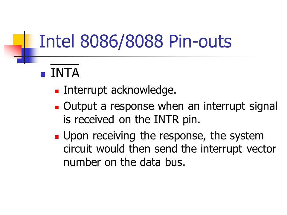 Intel 8086/8088 Pin-outs INTA Interrupt acknowledge.