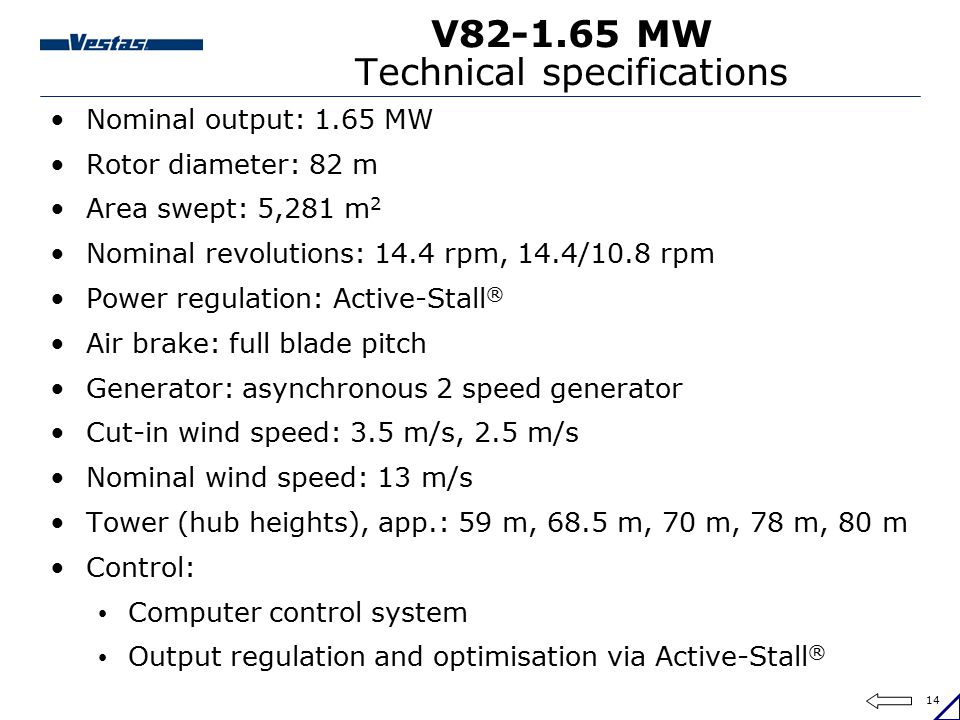 V82-1.65 MW Technical specifications