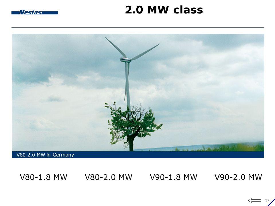 2.0 MW class V80-2.0 MW V90-2.0 MW V80-1.8 MW V90-1.8 MW
