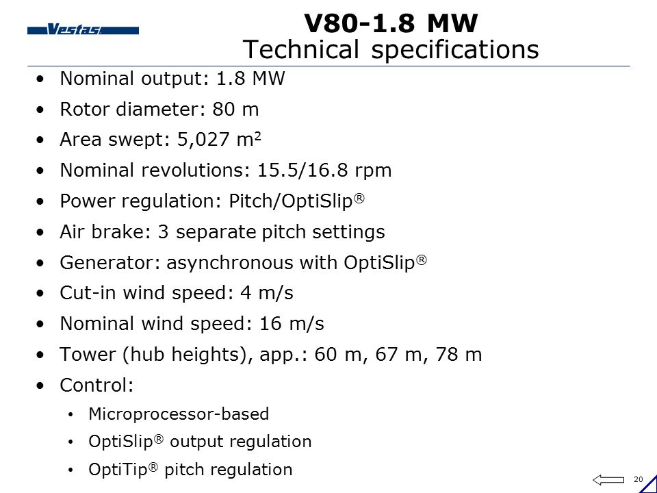 V80-1.8 MW Technical specifications