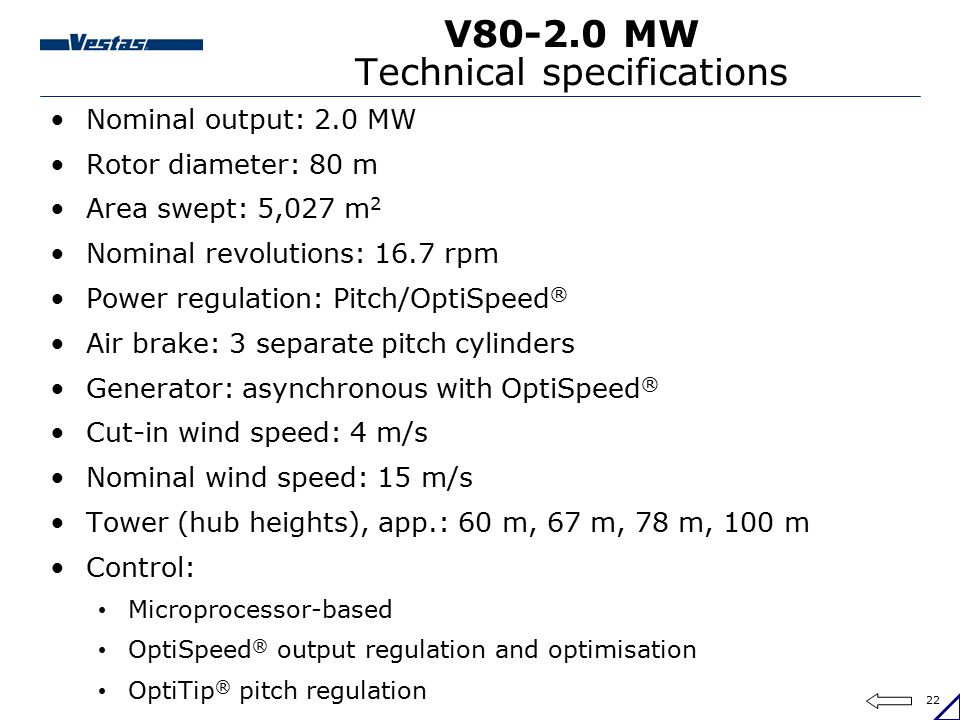 V80-2.0 MW Technical specifications