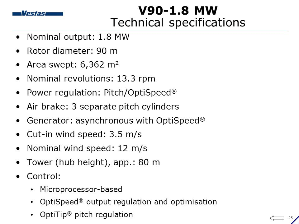 V90-1.8 MW Technical specifications