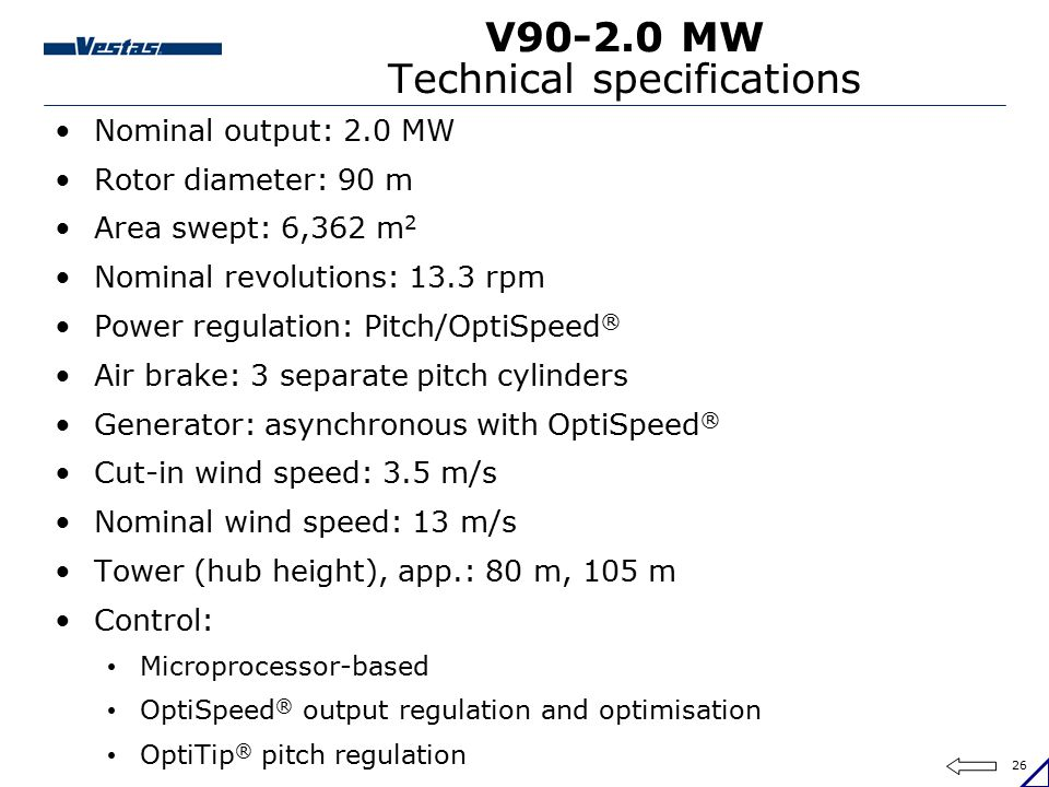 V90-2.0 MW Technical specifications