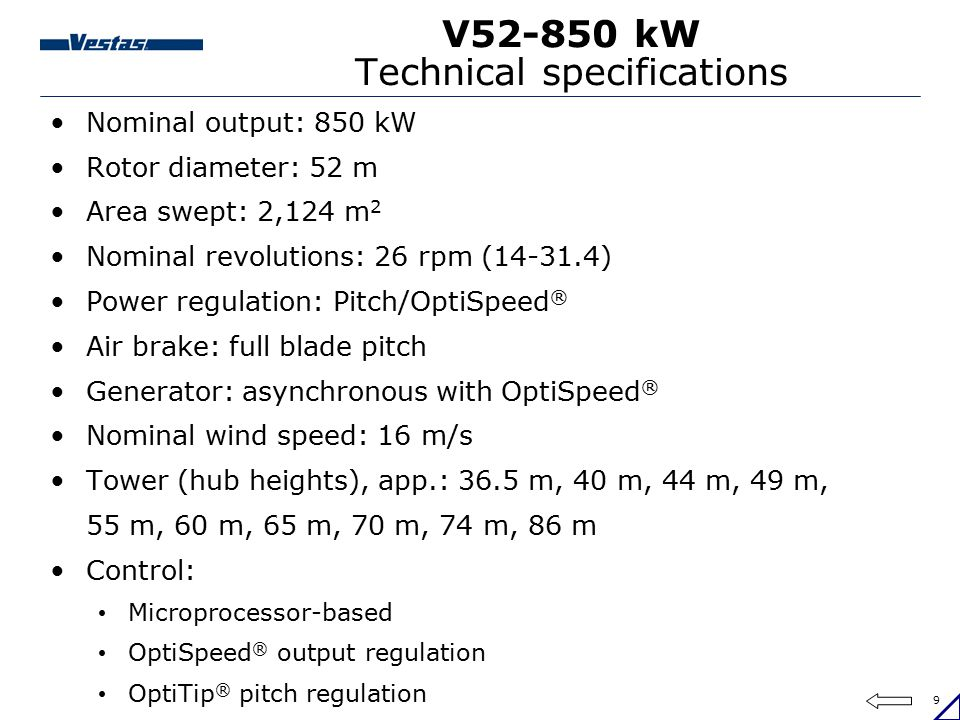 V52-850 kW Technical specifications