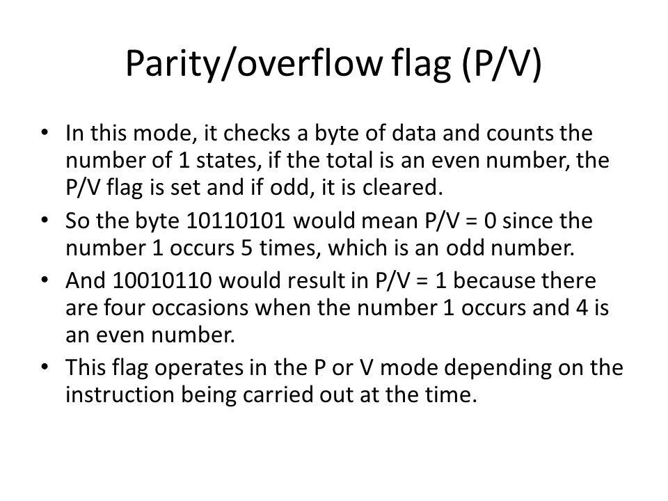 Parity/overflow flag (P/V)