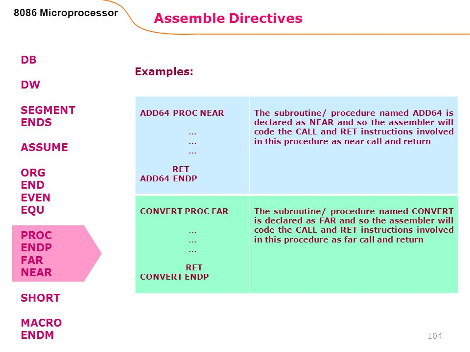 Assemble Directives 8086 Microprocessor DB DW Examples: SEGMENT ENDS