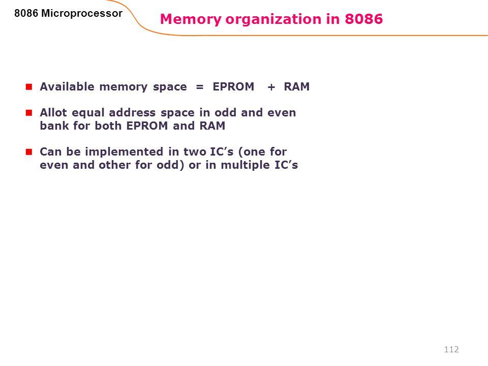 Memory organization in 8086