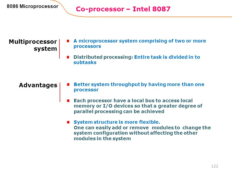 Co-processor – Intel 8087 Multiprocessor system Advantages
