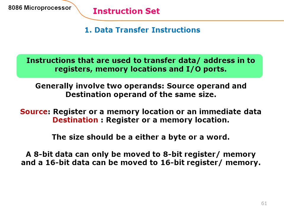 Instruction Set 1. Data Transfer Instructions