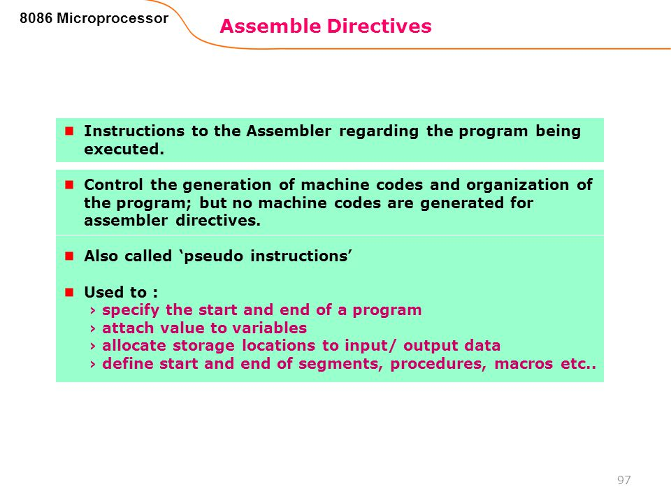 Assemble Directives 8086 Microprocessor