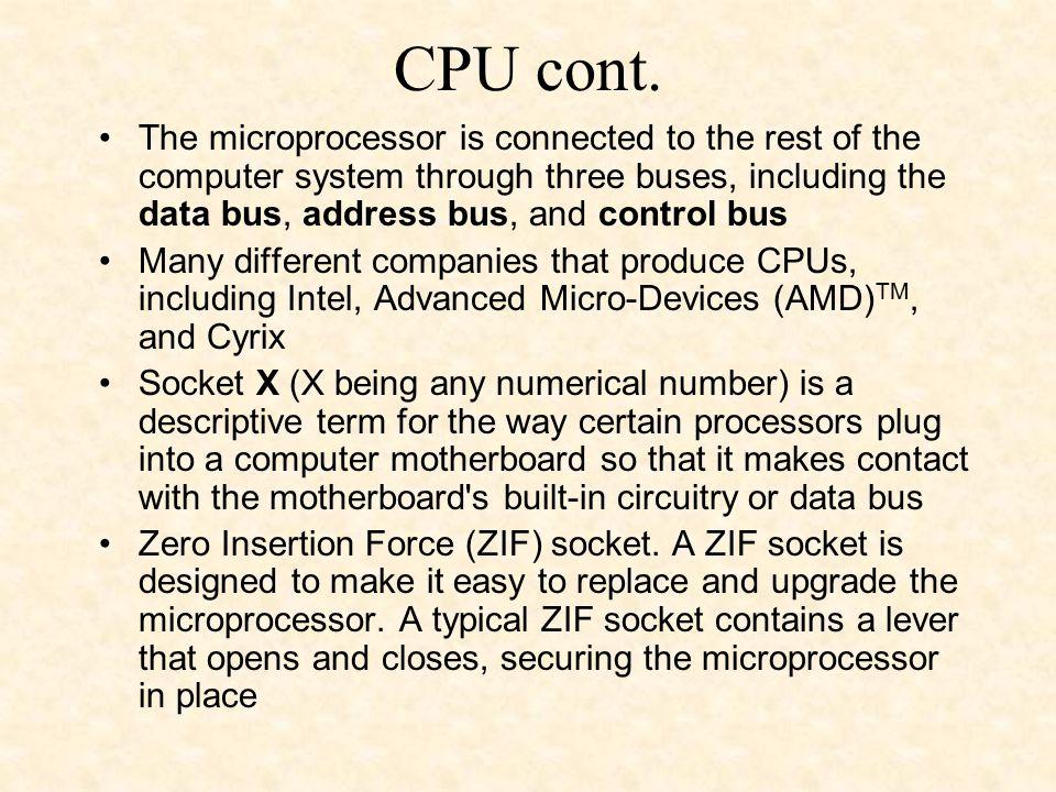 CPU cont.